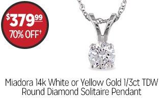 Miadora 14k White or Yellow Gold 1/3ct TDW Round Diamond Solitaire Pendant - $379.99 - 70% off‡