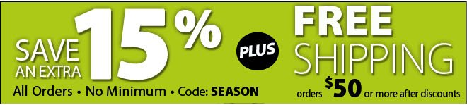 Save 15% with no minimum with code SEASON plus free shipping on orders of $50 or more