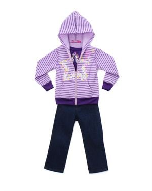 Coney Island Girl's Star Jacket, Shirt & Pants Set