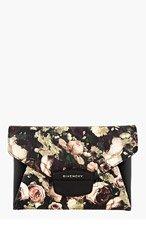 GIVENCHY Black & beige Rose Print Antigona Envelope clutch for women