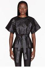 GARETH PUGH Black & silver Fancy Jersey blouse for women