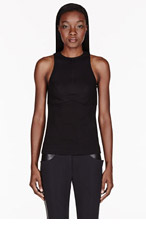 DION LEE Black bonded piece Tank top for women