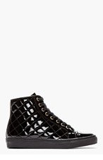 VERSUS Black Patent Quilted Sneakers for women