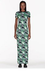 VERSUS Green Stretch Jersey Printed M.I.A edition Dress for women