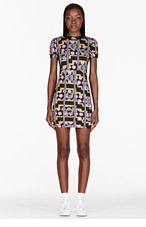 VERSUS Pink & Gold Stretch Jersey Printed M.I.A edition Dress for women