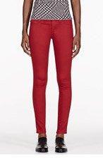 RAG & BONE Red Sateen Leggin jeans for women