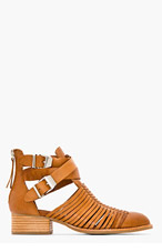 JEFFREY CAMPBELL Tan leather Stinson Everly Strapped Boots for women