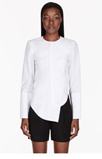 DION LEE White cut-out Imbalance blouse for women