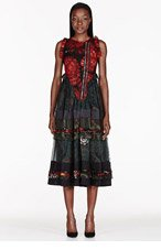 GIVENCHY Green & red silk layered Ruffle Dress for women