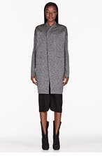 RICK OWENS Silver markled knit Dagger Peacoat for women