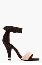 JEFFREY CAMPBELL Black & Gold Suede snakeskin Charvet heels for women