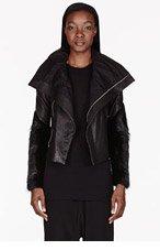 RICK OWENS Black Leather Monkey Cuff Biker Jacket for women