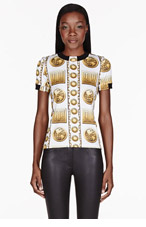 VERSUS White & Gold Strech Jersey Printed M.I.A edition T-Shirt for women