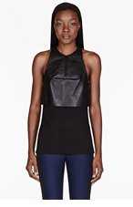 DION LEE Black Leather 3D Filter Top for women