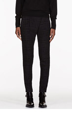 DAMIR DOMA Black leather-trimmed Front Fold Trousers for women