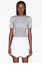 DION LEE Grey Bonded Piece t-shirt for women