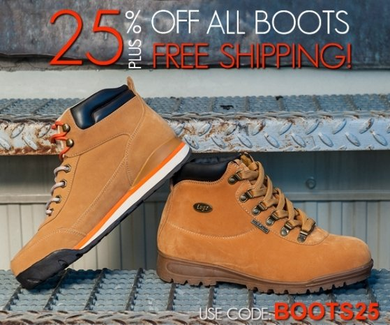 25% Off Boots + Free Shipping