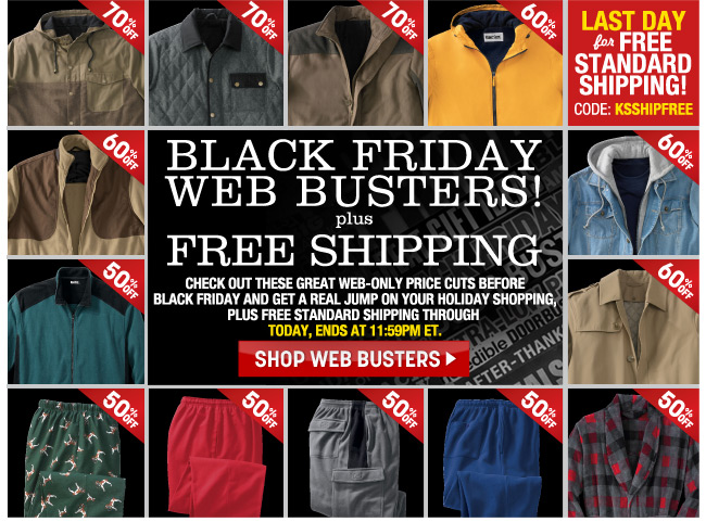 black friday web busters - last day for free standard shipping - code KSSHIPFREE - click the link below