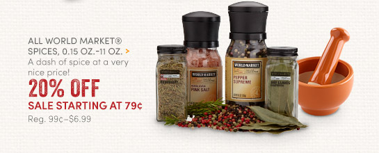 All World Market Spices - 20% Off