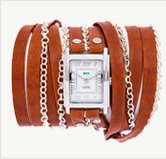 Tobacco-Silver Clifton Wrap Watch