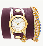 Crystal Plum Eggplant Wrap Watch