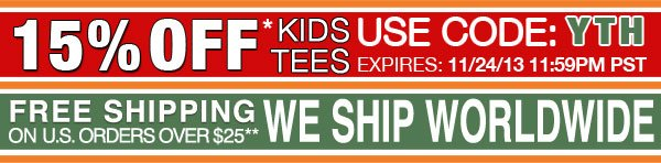 15% OFF All Kids Tees Only Sale. USE CODE: YTH