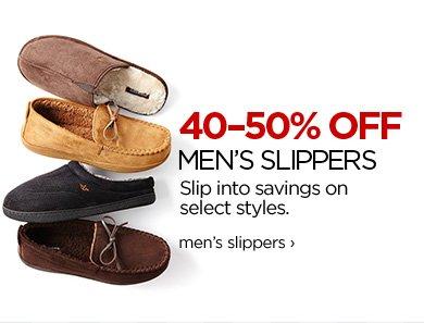40-50% OFF MEN'S SLIPPERS Slip into savings on select styles.  men's slippers ›