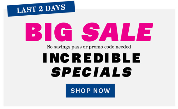 Last 2 Days. BIG SALE. Incredible Specials. Shop Now.