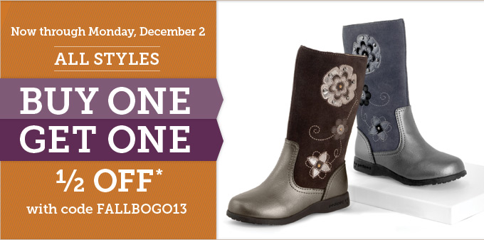 Now through Monday, December 2: All styles buy one get one 1/2 off* with code FALLBOGO13
