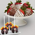 3 Thanksgiving Cake Pops & Half Dozen Swizzled Strawberries