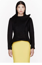 MUGLER Black Wool Exaggerated Peacoat for women