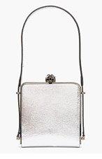 MUGLER Metallic Silver Leather Tiger Clasp Shoudler Bag for women