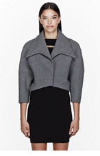 MUGLER Grey Crepe Wool Cropped Dolman Bolero for women