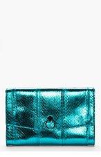 MUGLER Turquoise snakeskin Piercing envelope clutch for women