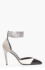 MUGLER Black & White Patchworked Leather Ankle Strap Pumps for women
