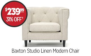 Baxton Studio Linen Modern Chair - $239.99 - 31% off‡