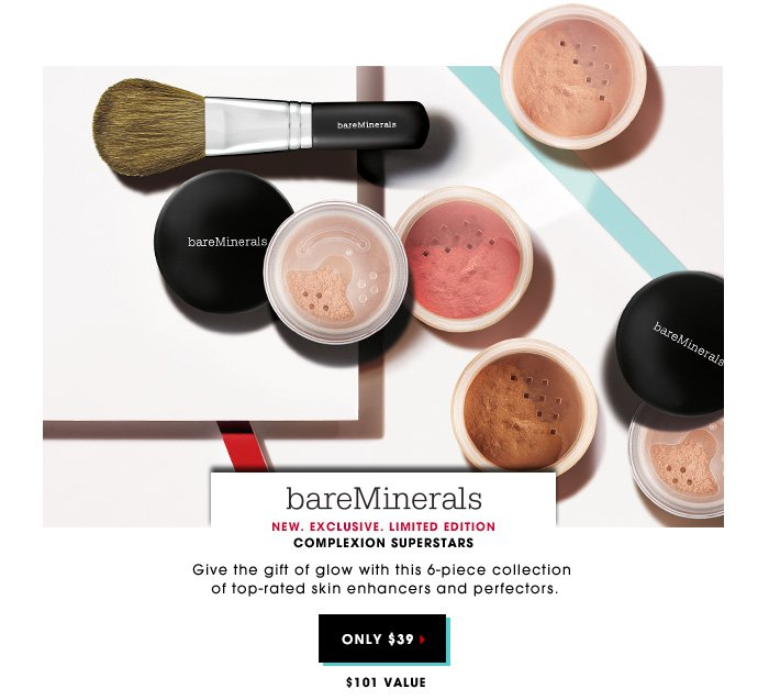 $39| $101 value. Give the gift of glow with this 6-piece collection of top-rated skin enhancers and perfectors. New. Exclusive. Limited Edition BAREMINERALS Complexion Superstars