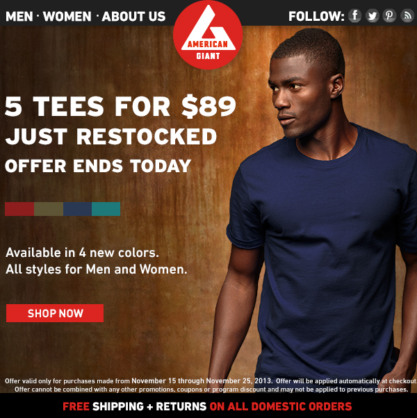 5 Tees for $89