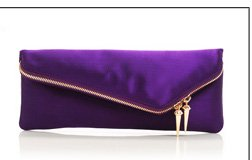 Deb Slim Asymmetric Satin Clutch