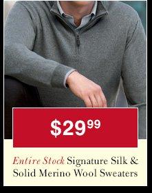 Signature Silk & Solid Merino Wool Sweaters - $29.99