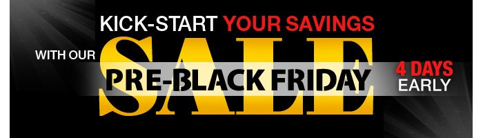 Kick-start your savings with our Pre-Black Friday Sale + Free Shipping on all items!  4 Days Early