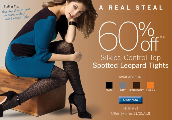 Silkies Control Top  Spotted Leopard Tights are 60% Off. Plus receive free standard shipping on all orders of $40 or more.