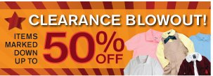 Clearance Blowout! Items marked down up to 50% OFF