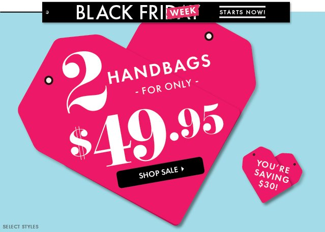2 Handbags For Only $49.95!