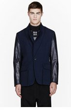 UMIT BENAN Navy leather-sleeved Futuristic Blazer for men