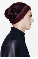 UMIT BENAN Burgundy & purple merino plaid beanie for men