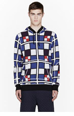 UMIT BENAN Blue COLOR CHECK HOODIE for men