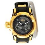 Invicta 11339 Men's Russian Diver Lefty Black Camouflage Dial Black Rubber Strap Gold Tone Stainless Steel Watch