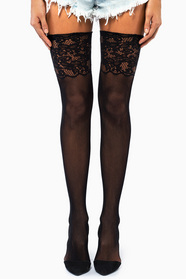 Jacquard Lace Top Stockings 11