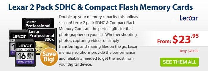 Adorama - Lexar 2 Pack SDHC & Compact Memory Cards